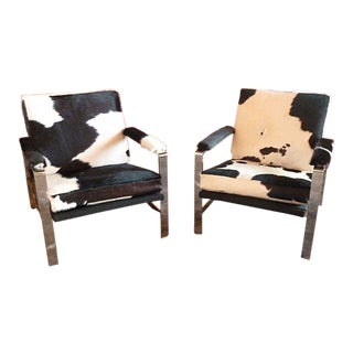 1960s Vintage Chromed Steel Lounge Chairs - A Pair For Sale