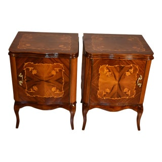 1910s Antique French Walnut & Satinwood Inlay Pair Nightstands - a Pair For Sale