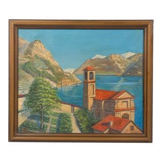 Seaside Villa Coastal Landscape Oil on Canvas For Sale