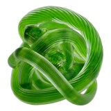 Image of Zanetti Italian Hand-Blown Murano Granny Smith Apple Green Knotted Accent, or Paperweight For Sale