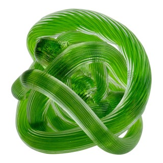 Zanetti Italian Hand-Blown Murano Granny Smith Apple Green Knotted Accent, or Paperweight For Sale