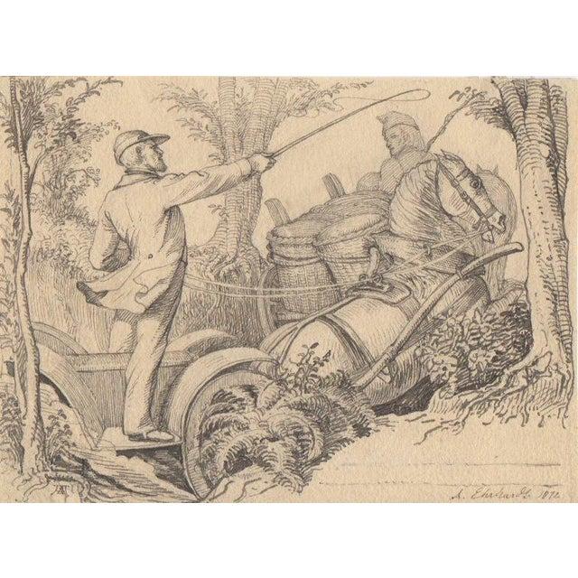 Karl Ludwig Adolf Ehrhardt Original Drawing c.1872 - Image 3 of 4