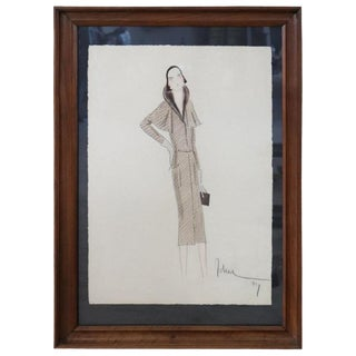 Italian Art Deco Stylist John Guida Watercolor and Pastel Pencil Fashion Design For Sale