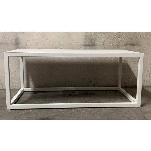2010s New Modern Rectangular White Table With Metal Top, Indoor or Outdoor For Sale - Image 5 of 12