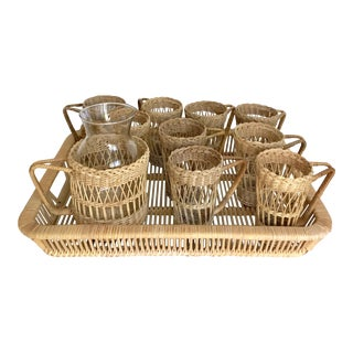 Wicker Drink Set With Pitcher and Tray - 11 PC.