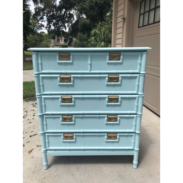 Faux Bamboo Five Drawer Chest of Drawers For Sale - Image 11 of 11
