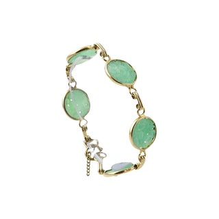 Carved Floral Faux-Jade Gold Bracelet For Sale