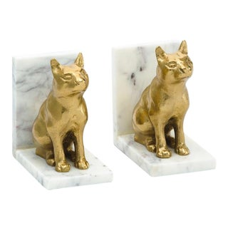 Hollywood Regency Metal & Marble Cat Bookends - a Pair