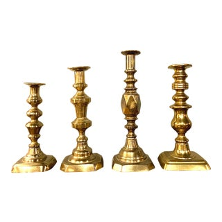 Antique English Brass Candle Holders - Set of 4 For Sale