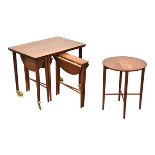 Danish Teak Nesting Table Trolly - Set of 4 For Sale
