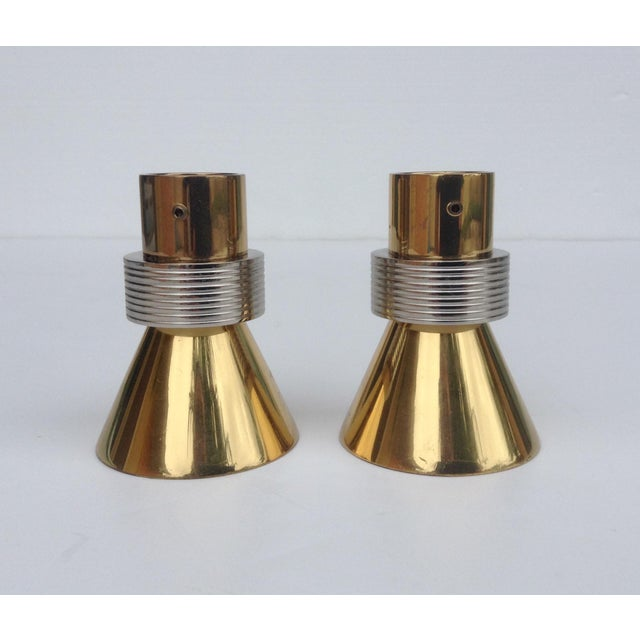 Brass German Polished Brass and Chrome Drapery Finials - A Pair For Sale - Image 7 of 11