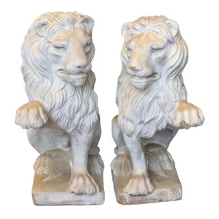 1970s Vintage Cement Lion Statues- A Pair For Sale
