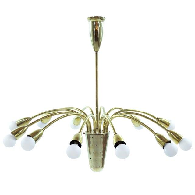 Brass Sputnik Chandelier, Italy 1950s For Sale