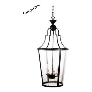 Modern Brushed Metal and Frosted Glass Lantern Chandelier For Sale