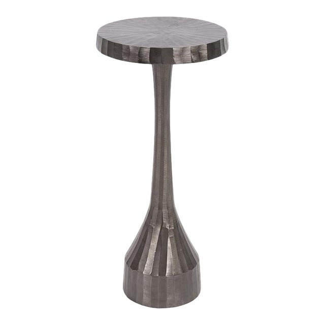 Kenneth Ludwig Chiseled Aluminum Graphite Martini Table For Sale