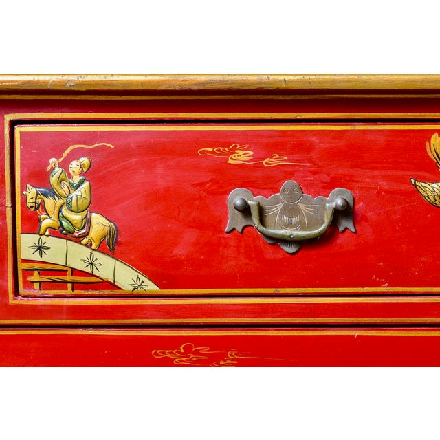 Chinoiserie Red Lacquer Chest of Drawers For Sale In West Palm - Image 6 of 13