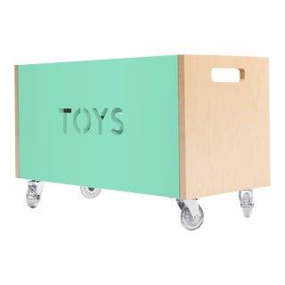 Toy Box Chest on Casters in Birch With Mint Finish For Sale