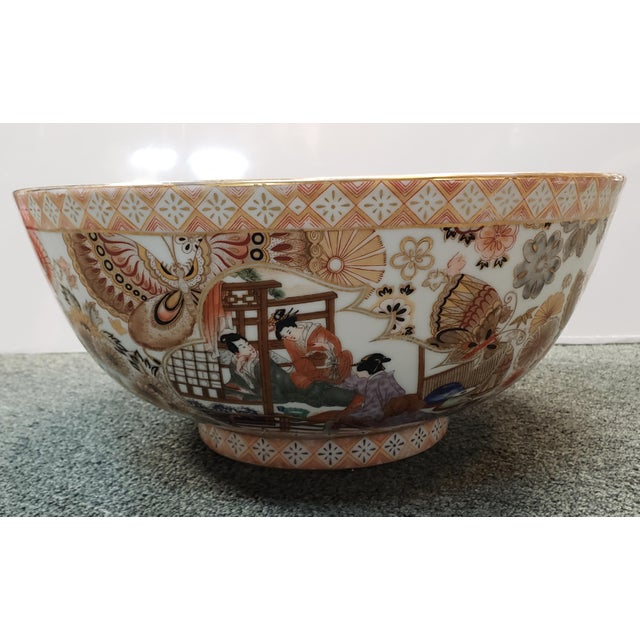 Japanese Vintage Circa 1970 Satsuma Style Porcelain Figural, Floral, and Butterfly Motifs Punch Bowl Made in China For Sale - Image 3 of 8