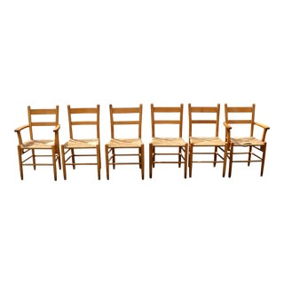 Vintage Mid Century French Woven Rope Wooden Chairs- Set of 6 For Sale