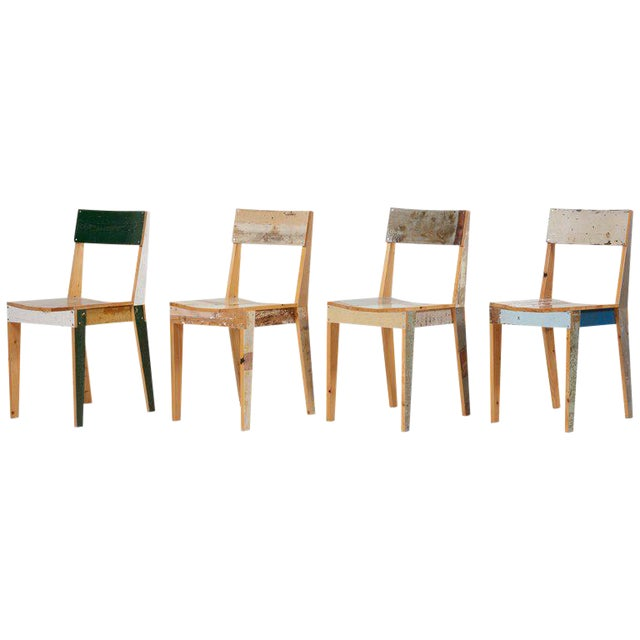 Set of Four Lacquered Oak Chairs in Scrapwood by Piet Hein Eek For Sale