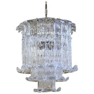 1970s Italian Murano Mazzega Clear Textered Glass Chandelier For Sale