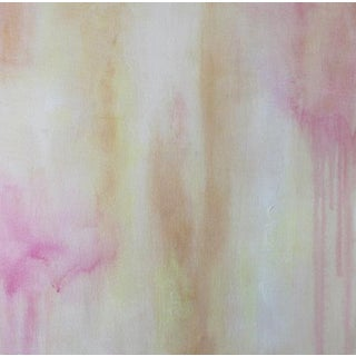 Posey Abstract Painting Gallery Wrapped Canvas Square Pink Gold Soft Modern Art