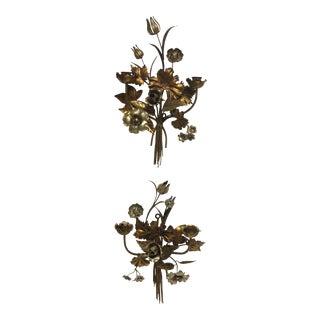 Hollywood Regency Gold & Silver Gilt Floral Sconces - a Pair