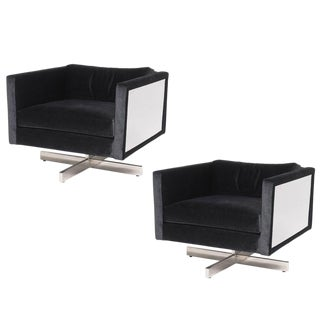 Vintage Mid-Century Modern Milo Baughman Style Lounge Chairs- A Pair For Sale
