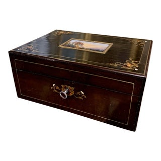 19th Century French Napoleon III Rosewood & Brass Jewelry Box With Painted Scene For Sale