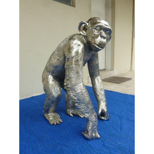 1970s Modern Life Size Nickel Plated Bronze Chimpanzee Statue For Sale - Image 10 of 13