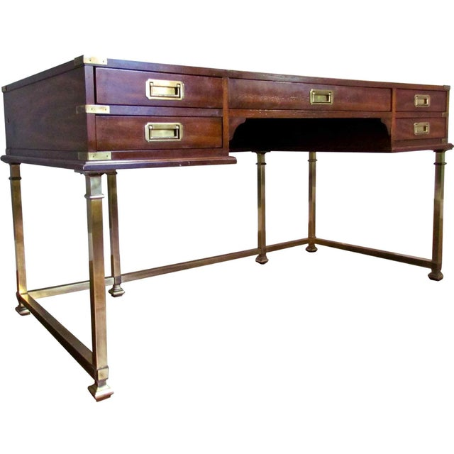 1970s Campaign Sligh Mahogany Brass & Leather Writing Desk For Sale - Image 12 of 12