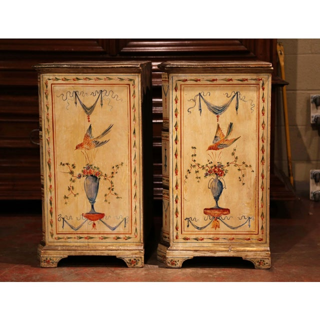 19th Century Italian Carved Chests of Drawers With Bird Painted Decor - a Pair For Sale - Image 10 of 13
