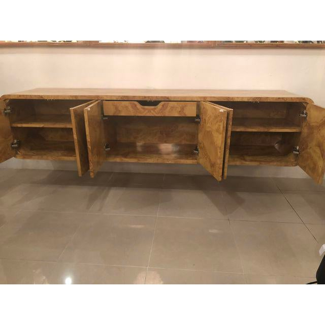 Brown Faux Burl Wood Wall Cabinet Credenza Buffet For Sale   Image 8 Of 10