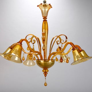 Large Venini Amber Murano Glass Six-Arm Chandelier Preview