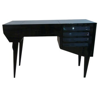 Vanity or Dressing Table in Black Lacquer Mid-Century Italy For Sale