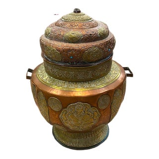 Large Antique Copper and Brass Lidded Urn For Sale
