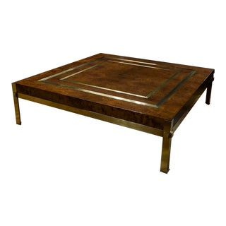 French Large Walnut Burl and Brass Cocktail Table For Sale