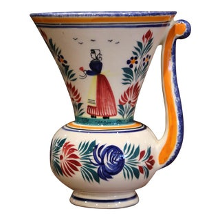 Mid-20th Century French Hand Painted Faience Vase Signed Hb Quimper For Sale