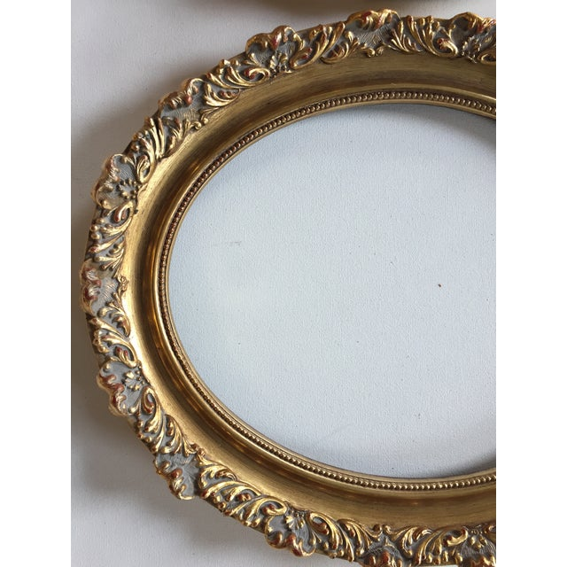Vintage Oval Gold Wood Frames - A Pair For Sale - Image 5 of 7