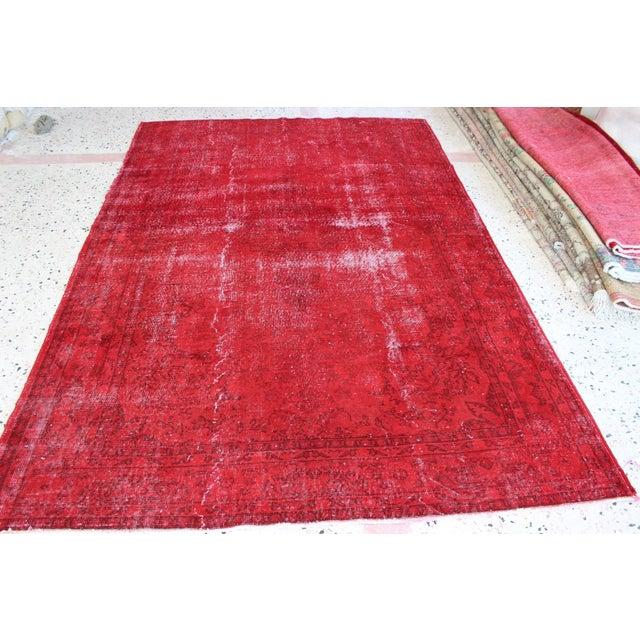 Red Overdyed Vintage Turkish Rug - 7′ × 10′10″ - Image 3 of 8