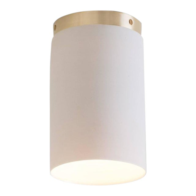 Contemporary Surface White Porcelain & Brushed Brass Flush Mount Ceiling Light For Sale