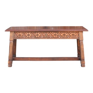 Walnut Carved Tavern Table For Sale