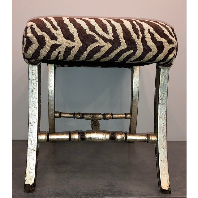 Hollywood Regency Hollywood Regency Silver Gilt Zebra Benches - a Pair For Sale - Image 3 of 13