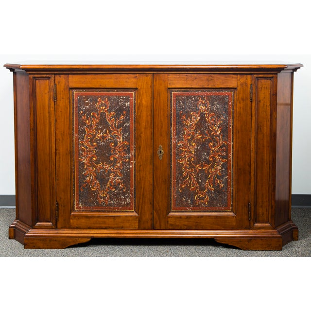 Italian Two Door Credenza With Painted Panels For Sale - Image 10 of 10