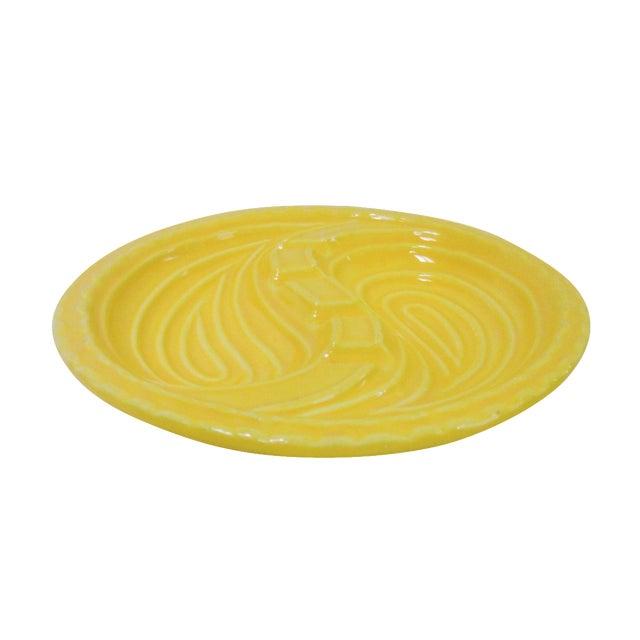 Mid-Century Modern Atomic Yellow Ashtray Dish - Image 1 of 8