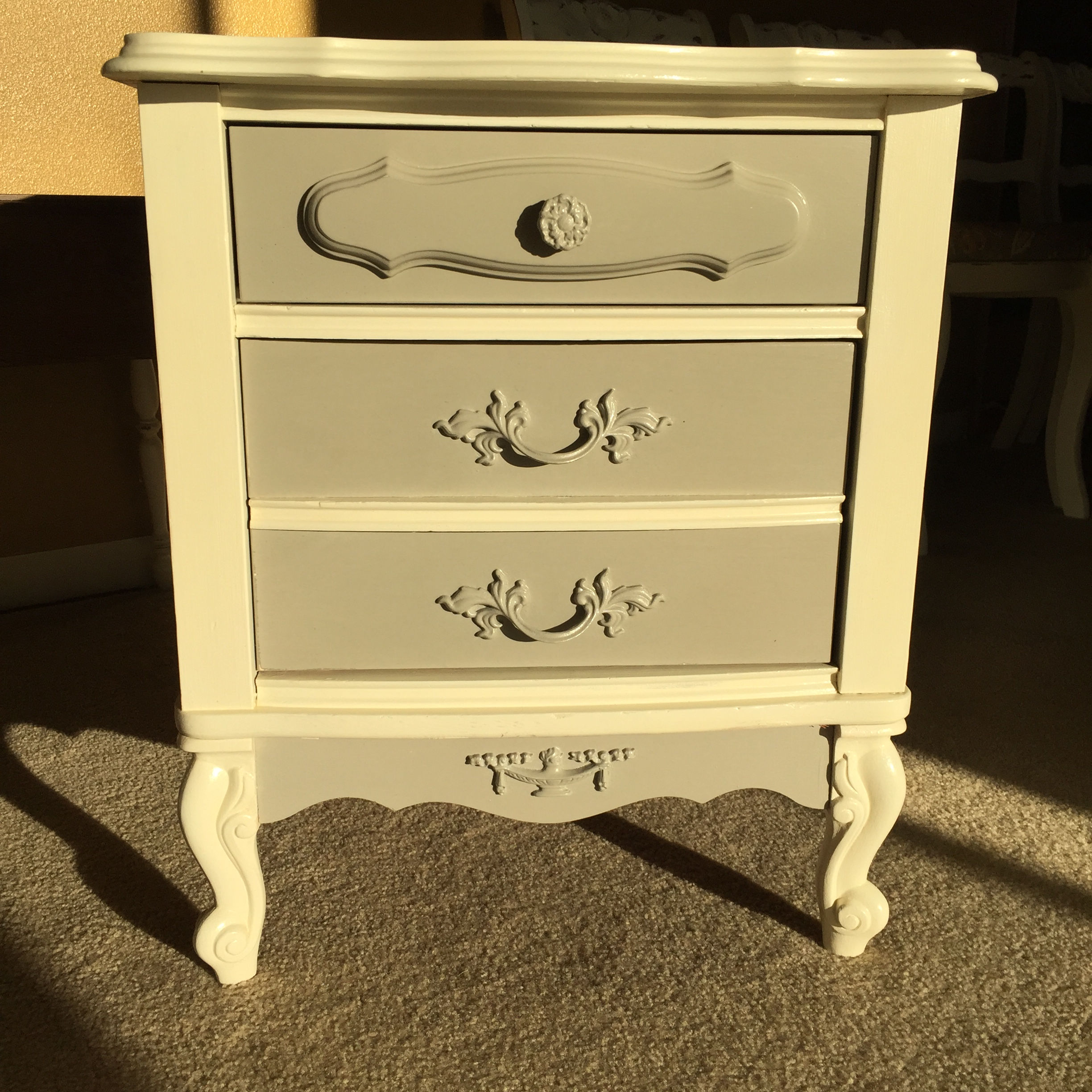 vintage french provincial white & gray nightstand | chairish French Provincial Nightstand