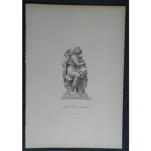 Neoclassical Antique Engraving Mother & Children Folio Size For Sale - Image 3 of 3