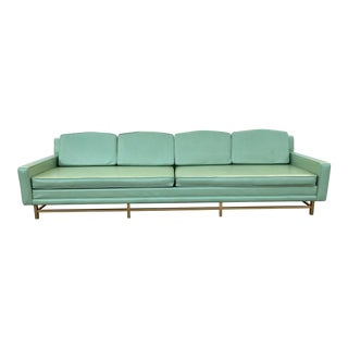 Mid Century Modern 4 Seat Sofa on Brass Legs For Sale