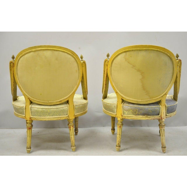 Vintage French Louis XVI Style Low Petite Boudoir Small Hiprest Chairs - a Pair For Sale - Image 10 of 13