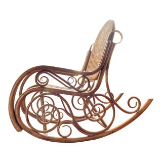 Antique Thonet Style Bentwood Cane Rocker For Sale